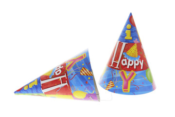 Party Hats on Isolated White Background
