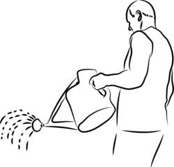 watering man