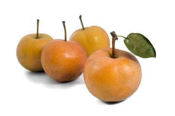 group of Nashi pear isolated on white