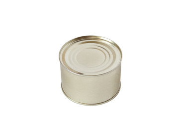 Isolated round closed tin on white background