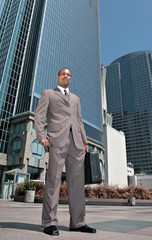 Handsome African American Businessman Outdoors Holding Briefcase