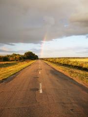 rainbow on the cloudy sky