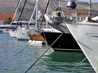 Croatia - city Trogir - anchorage by boat in harbour