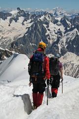 Poster de jardin Alpinisme Alpinistes vers le Mont Blanc
