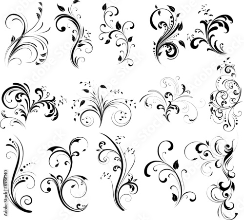 Line Art Xl 2008 : Quot floral silhouette stock image and royalty free vector