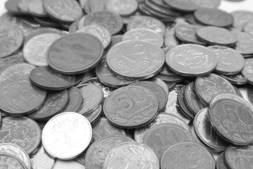 Loose of coins a close up