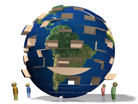 Jenga styled globe.  World in crisis.  Falling apart.