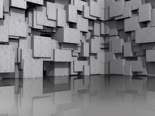 3D wall with concrete cubic blocks reflected in shiny floor