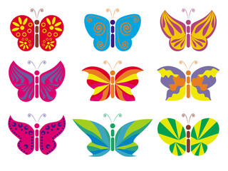 different vector color butterflies