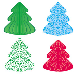 vector cristmas trees set