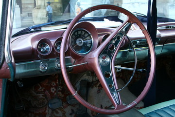 Classic car view from inside