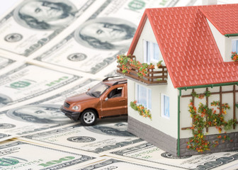 Miniature House and Money..Buying house concept