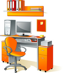 Desk, computer, chair, files - office furniture, workplace