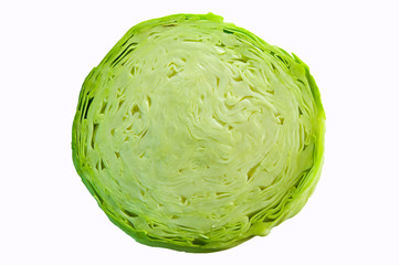 cabbage cut isolated over white background