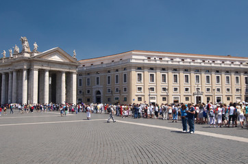 Huge queue to go in basilica on Saint Peter's Square. Rome