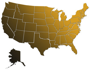 Carte Etats Unis Golden