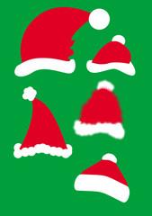 "vector cristmas Santa""s red hats"