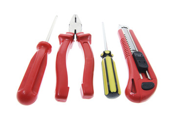 Hand Tools on Isolated White Background