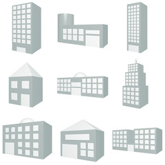 Building Icon Set in Blue