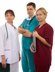nurse, male and female doctor with medical accesories