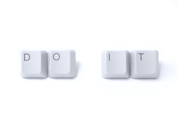 """Do it"" words wtitten by isolated computer keyboard keys"