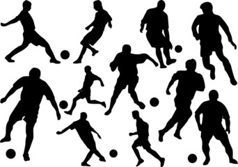 group of football players in action vector illustration