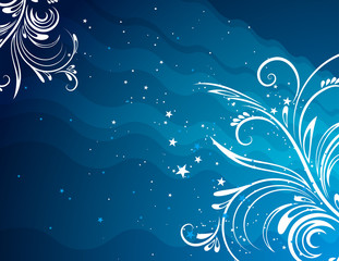 blue  background with decorative ornaments