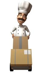 Cuisinier avec des boites