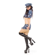 beautiful stripper in military clothes over white