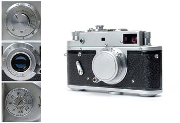 Vintage photo camera isolated on white with closeups