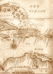 Poster South America Country handwritten ancient map of Caribbean basin from the book of 1678