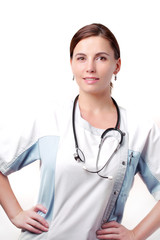 cute girl in white medical gown and a stethoscope