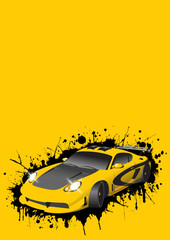 Fantastic Car Series. Raster illustration.