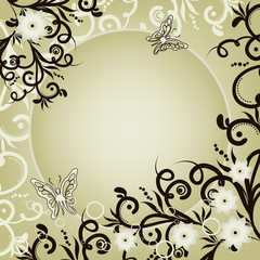 Vintage background with flowers and butterfly Vector