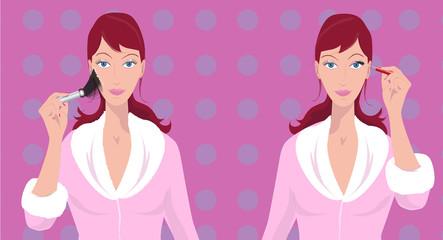Illustration soeurs jumelles rousses - maquillage