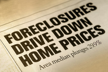 Selective Focus of Home Foreclosure Newspaper Headline