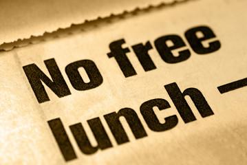 Selective Focus Macro of No Free Lunch News Headline