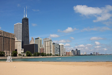 Lake Michigan and the Chicago Skyline from Ohio Street Beach