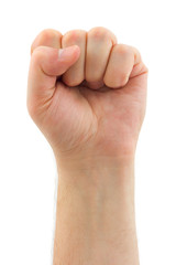 Male fist isolated on white background