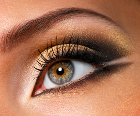 Modern style of golden-brown make-up. Beautiful woman eyes