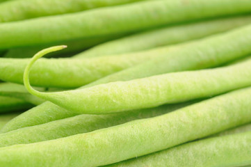 Closeup of green french beans with shallow DOF