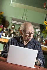 Senior in Dining Room with a Laptop Computer