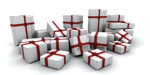 3D render of a stack of gift boxes