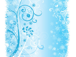 Decorative floral winter grunge background