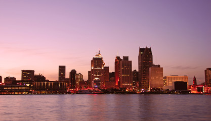 Sunset over Detroit as seen from Windsor, Ontario