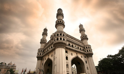 Fotobehang Artistiek mon. 400 year old historic charminar monument in Hyderabad India