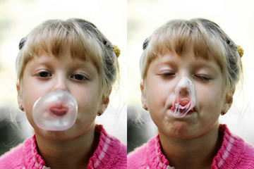 Two images of young girl with gum