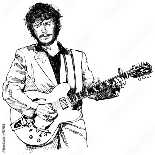 """ink drawing vector illustration of a guitar player"" Stock ..."