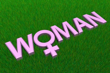 Pink Word Woman On Grass/Gender Symbol