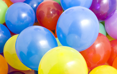 Many multicolored balloons background
